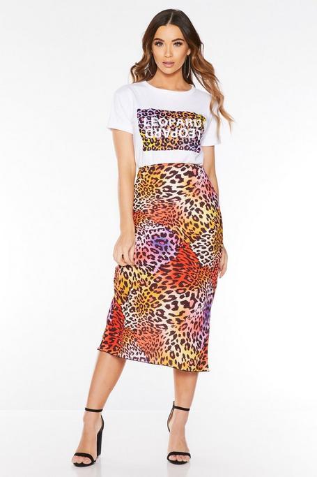 Falda Midi Multicolor de Estampado de Leopardo