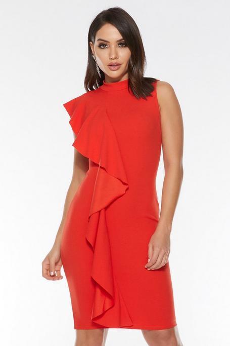 Orange Crepe High Neck Ruffle Midi Dress