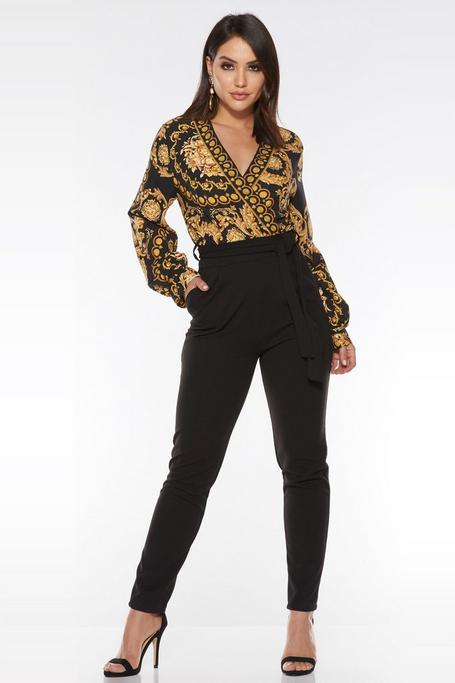 Black And Gold Scarf Print Long Sleeve Jumpsuit