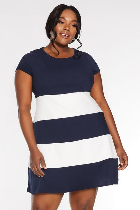 Plus Size Navy And Cream Contrast Stripe Skater Dress