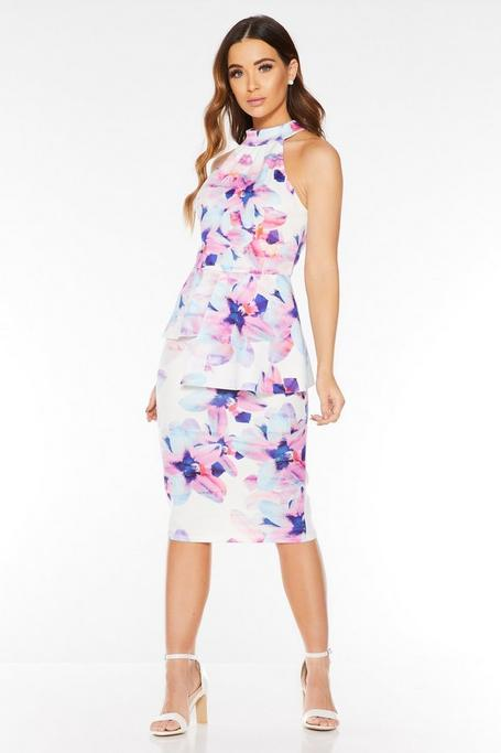 Cream Pink And Blue Floral Midi Dress