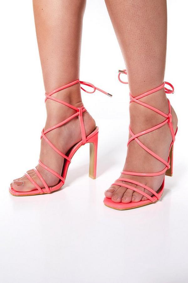 Sandalias de Tacón Rosa Neón Estilo Gladiador