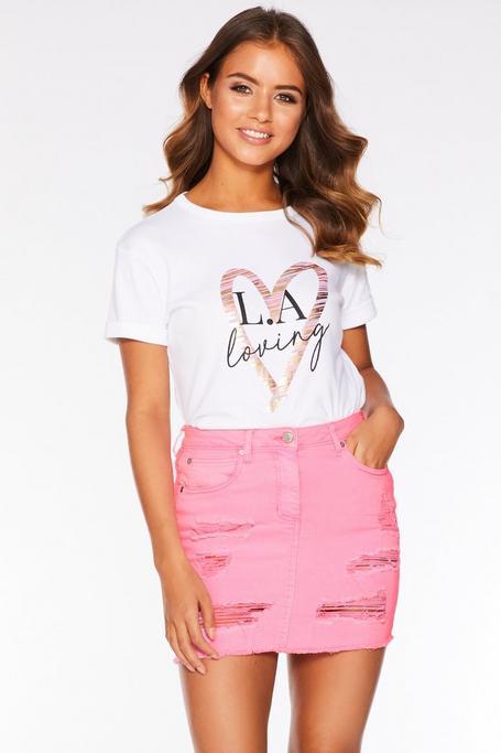 Neon Pink Denim Ripped Mini Skirt