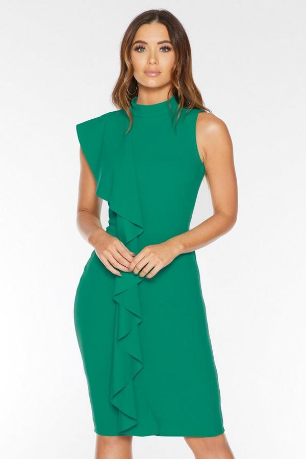 Jade Green Crepe High Neck Ruffle Midi Dress