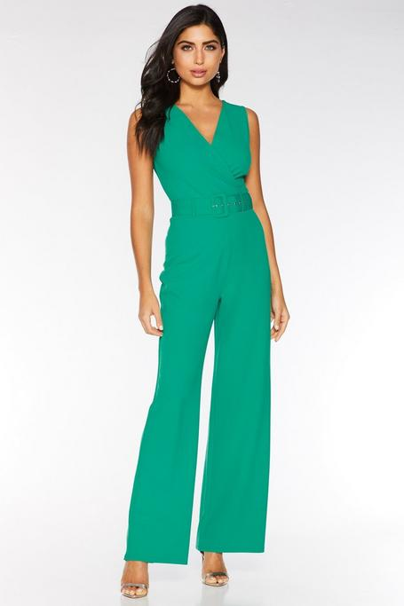 Jade Green Wrap Front Belted Palazzo Jumpsuit