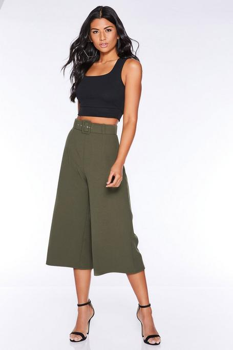 Khaki Belted Culotte Pants