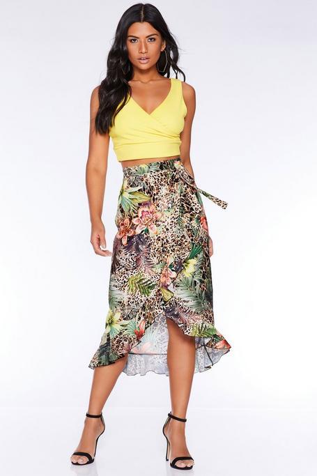 Brown Leopard Print Floral Midi Skirt