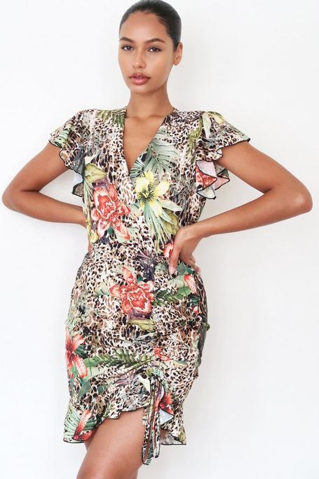 Vestido Marrón Floral con Estampado de Leopardo