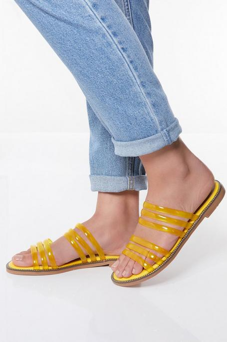 Yellow Clear Strap Flat Sandals