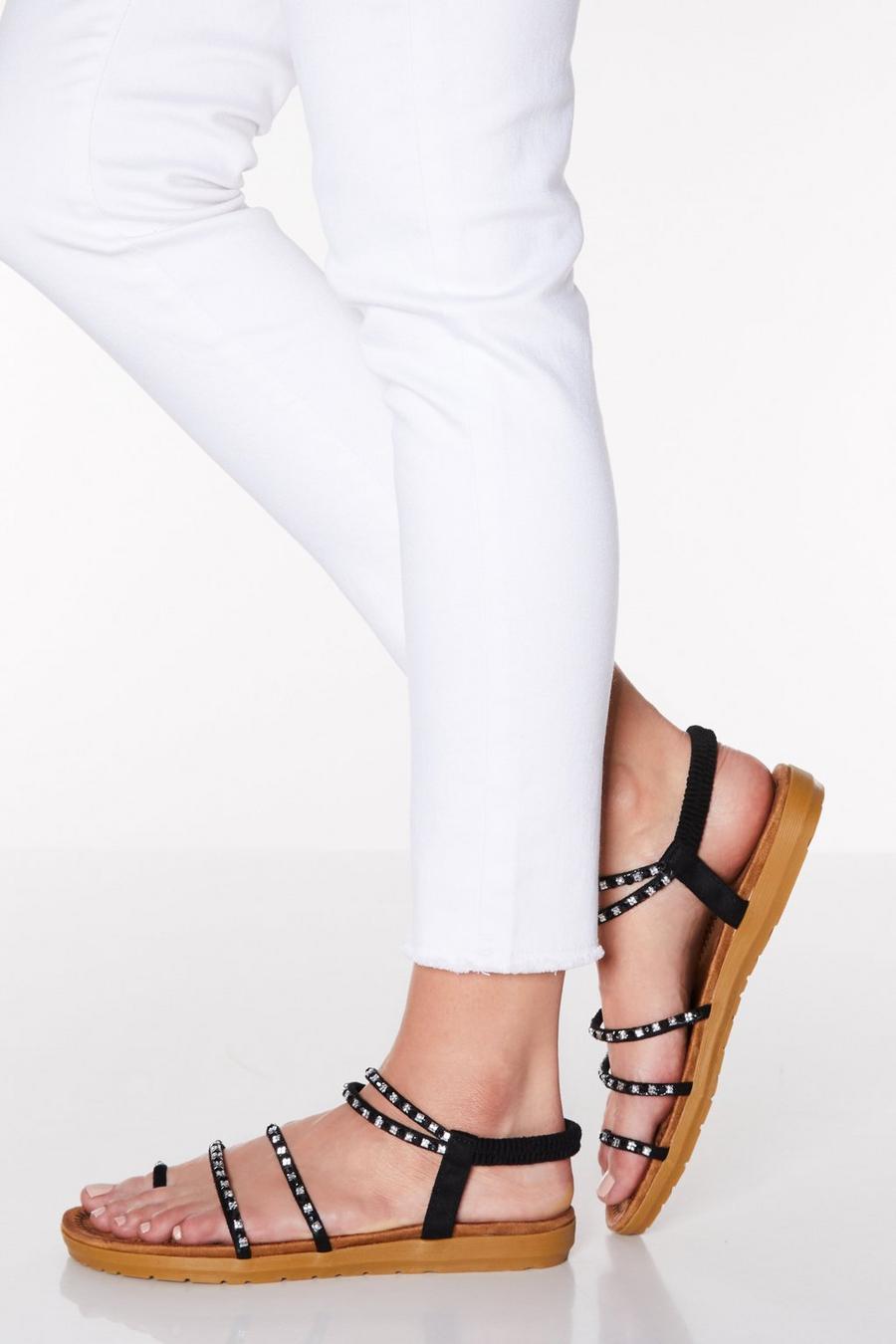 121c33b0f59 Comfort Black Diamante Strappy Sandals