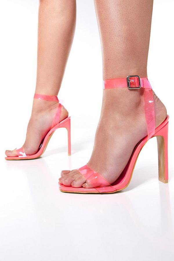 Sandalias de Tacón Rosas Transparentes con Puntera Cuadrada