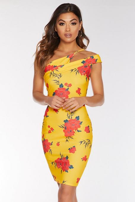 Yellow and Orange Floral Asymmetric Dress
