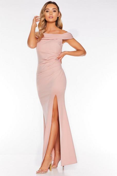 Nude Bardot Ruched Split Maxi Dress
