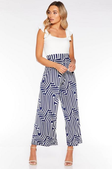 Navy and Cream Abstract Print Palazzo Trousers