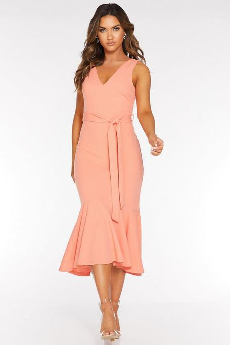 Peach V Neck Mermaid Midi Dress