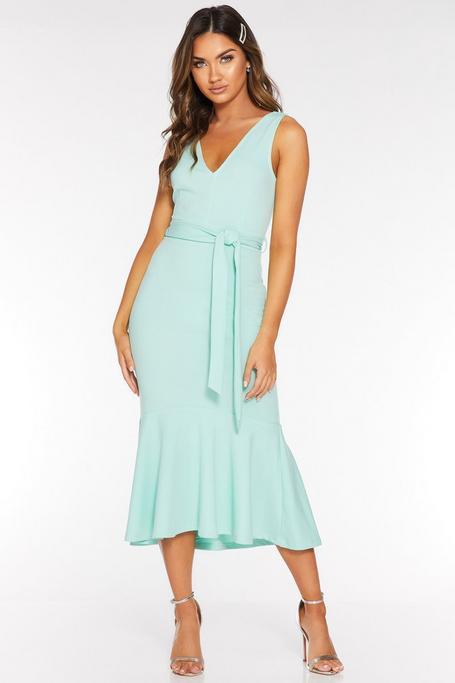 Mint V Neck Mermaid Midi Dress