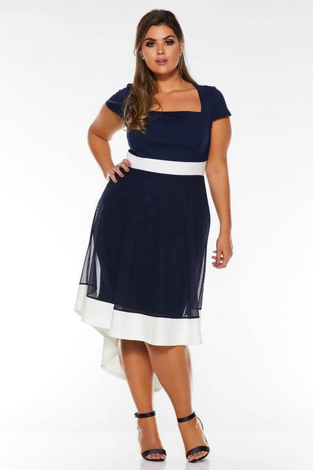 Vestido Curve Azul Marino con Escote Cuadrado