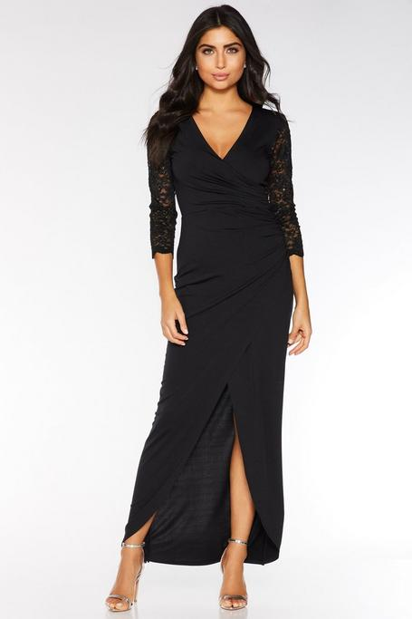 Black Sequin Lace 3/4 Sleeve Maxi Dress