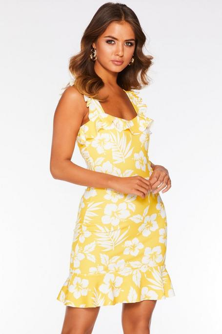 Yellow and White Tropical Print Frill Hem Dress
