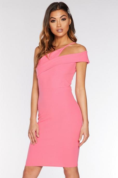 Pink Asymmetric Midi Dress