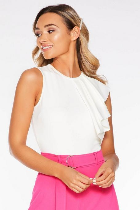 Cream Frill Sleeveless Bodysuit