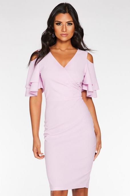 Lilac Wrap Front Cold Shoulder Dress