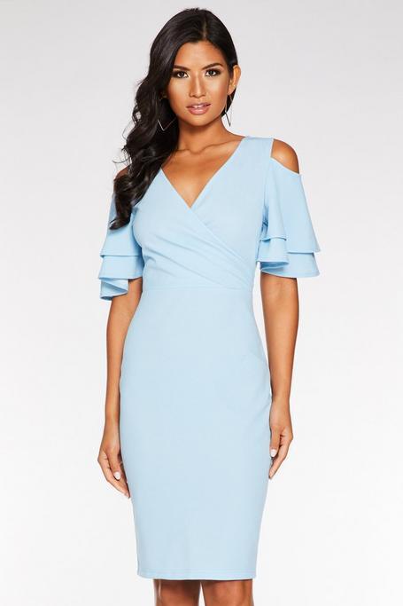 Pale Blue Wrap Front Cold Shoulder Dress
