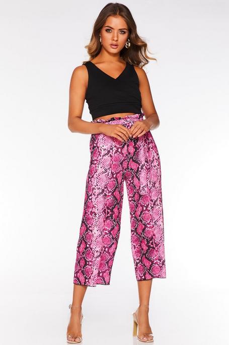 Cerise Pink Snake Print Belted Culotte Pants