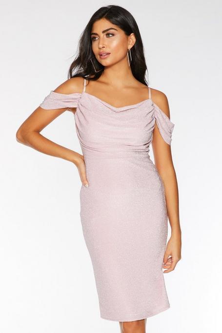 Rose Pink Cold Shoulder Midi Dress
