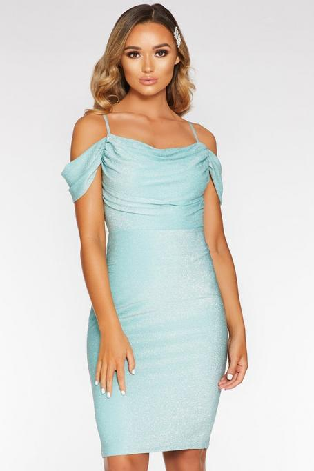 Mint Green Cold Shoulder Midi Dress