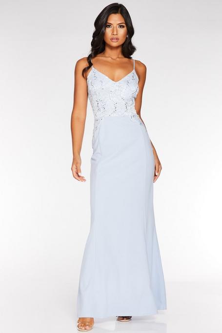 Pale Blue Sequin Lace Maxi Dress