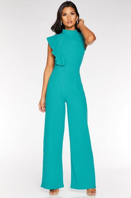 Teal High Neck Frill Shoulder Jumpsuit