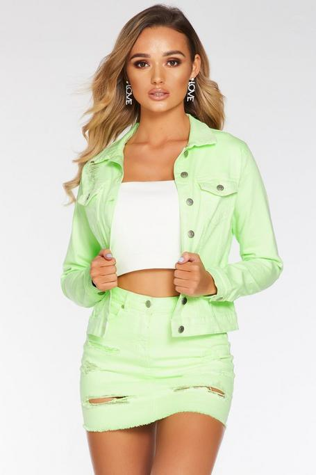 Lime Denim Ripped Jacket