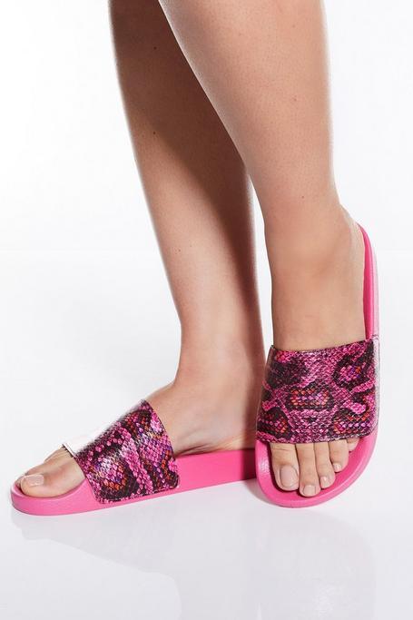 Hot Pink Snake Print Sandals