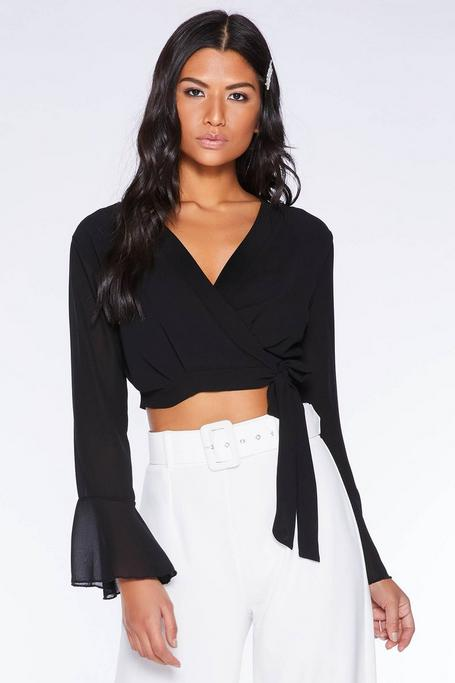 Black Chiffon Wrap Crop Top
