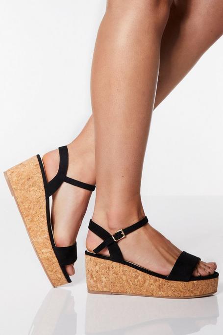 Sandalias de Cuña Negras de Corte Ancho