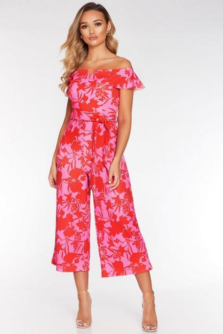 Mono Culotte Tropical Rosa y Rojo con Escote Bardot