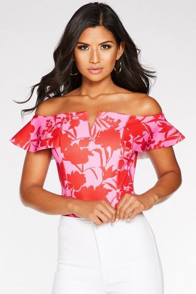 Body Tropical Rojo y Rosa con Escote Bardot