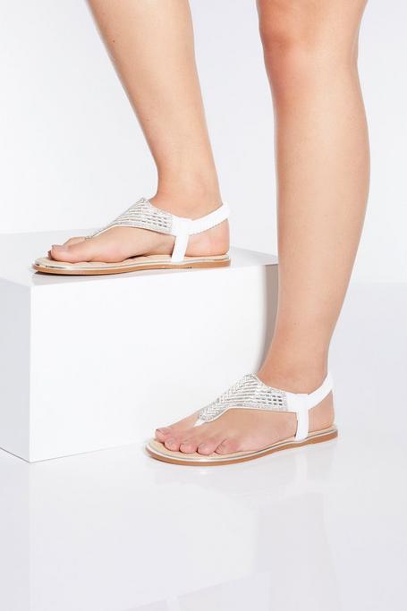 Sandalias Blancas con Brillantes de Corte Ancho