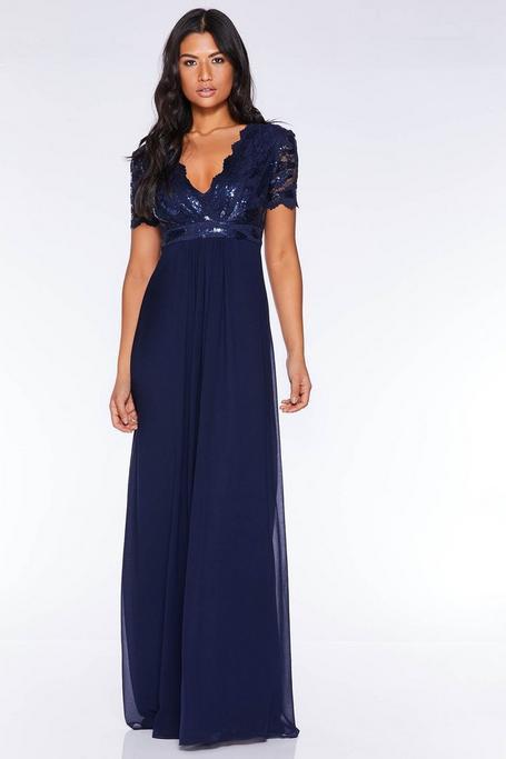 Vestido Largo Azul Marino de Gasa con Top de Lentejuelas