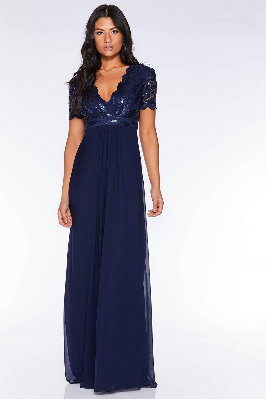 sells buy sale hot-selling clearance Navy Sequin Scallop Cap Sleeve Maxi Dress