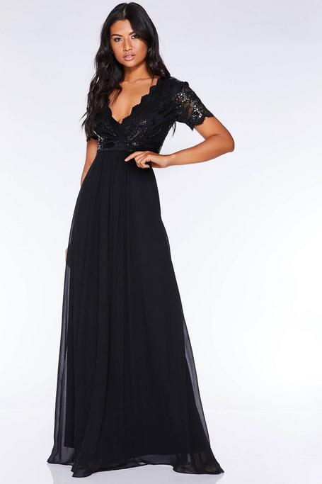 Black Sequin Scallop Cap Sleeve Maxi Dress