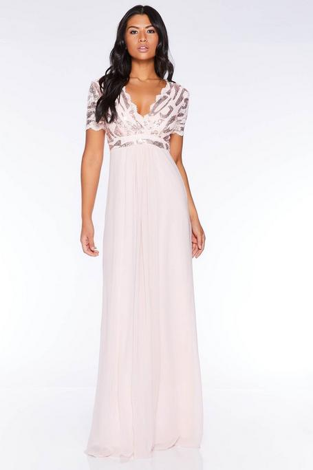 Nude Sequin Scallop Cap Sleeve Maxi Dress