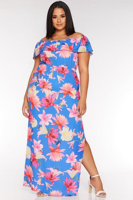 Plus Size Royal Blue and Pink Floral Off The Shoulder Maxi