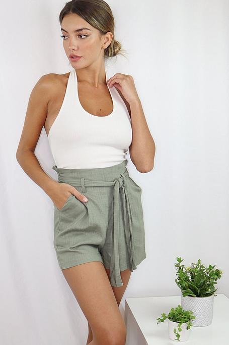 Shorts Caqui con Cintura Paper Bag