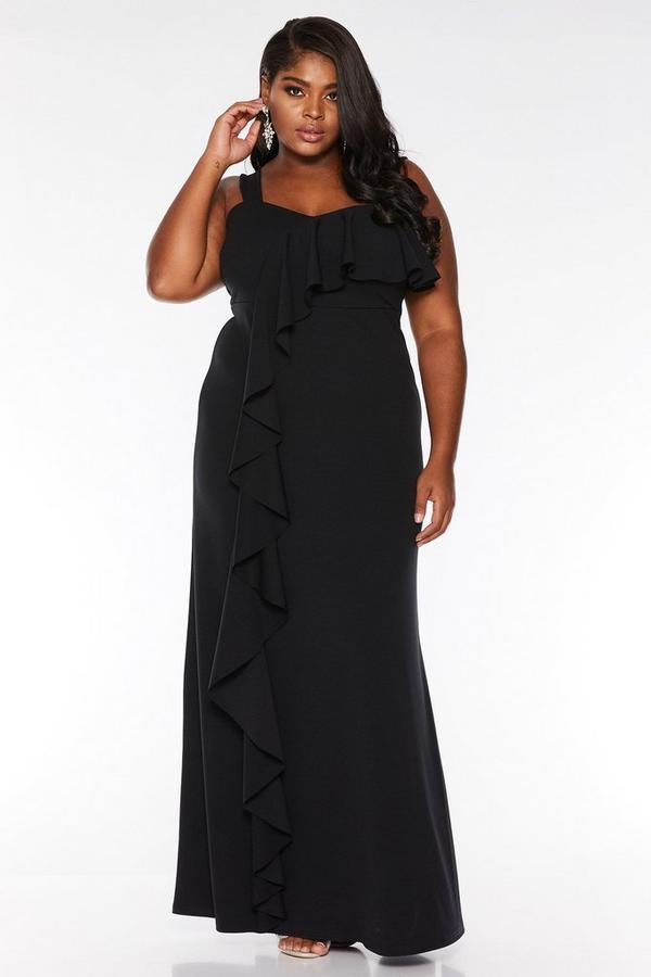 Vestido Largo Curve Negro con Volante Asimétrico