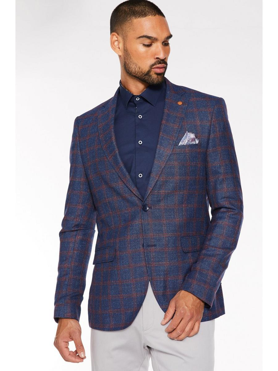 Regular Fit Red Check Navy Blazer