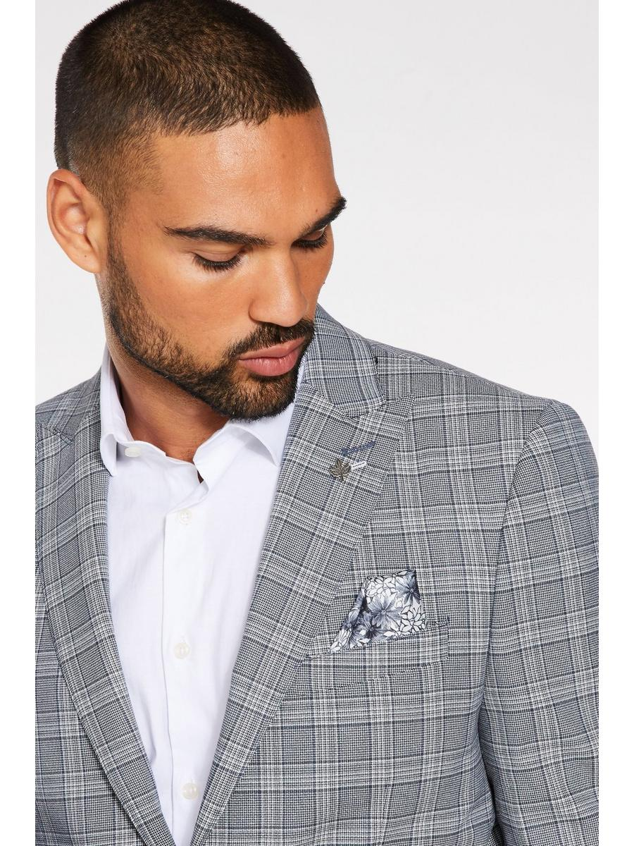 Slim Fit Blazer in Grey with Check Detail