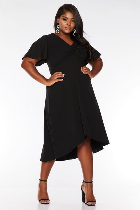 Plus Size Black Knot Front Dip Hem Midi Dress
