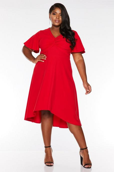 Plus Size Red Knot Front Dip Hem Midi Dress